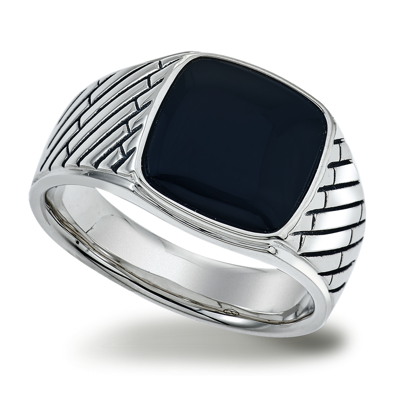 Esquire Men's Jewelry Onyx and Silver Ring