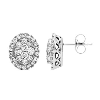 1ctw Oval Cluster Halo Diamond Earrings
