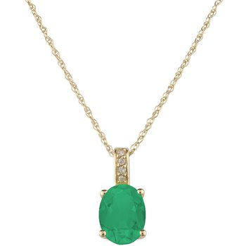 14ky Emerald / Diamond Yellow Gold Pendant