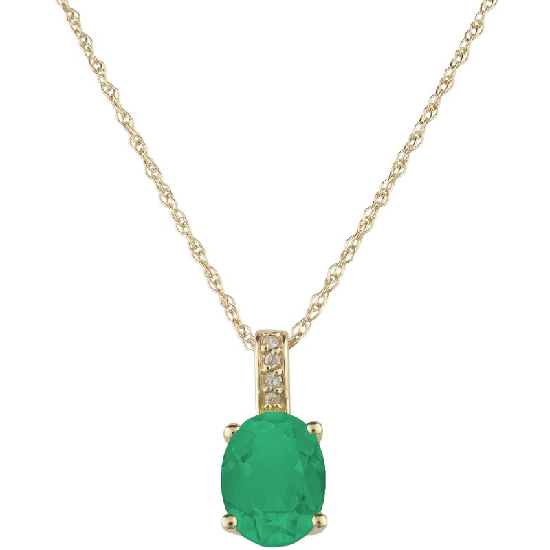 Birthstone Collection 14ky Emerald / Diamond Yellow Gold Pendant