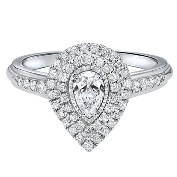 Pear Shaped Double Halo With 1/3ct Center Tru Reflections Engagement Ring