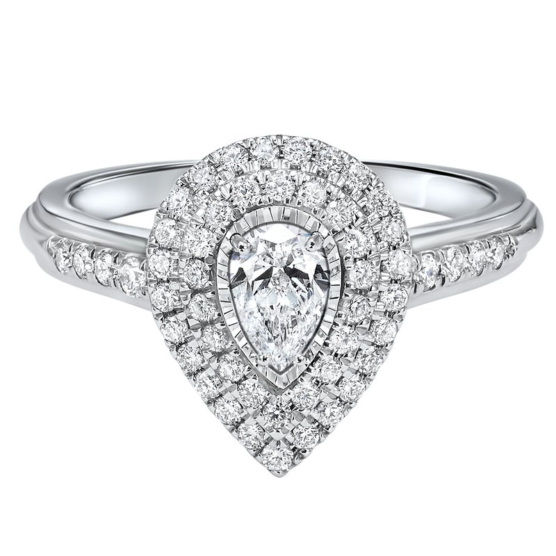 Promise Forever Pear Shaped Double Halo With 1/3ct Center Tru Reflections Engagement Ring