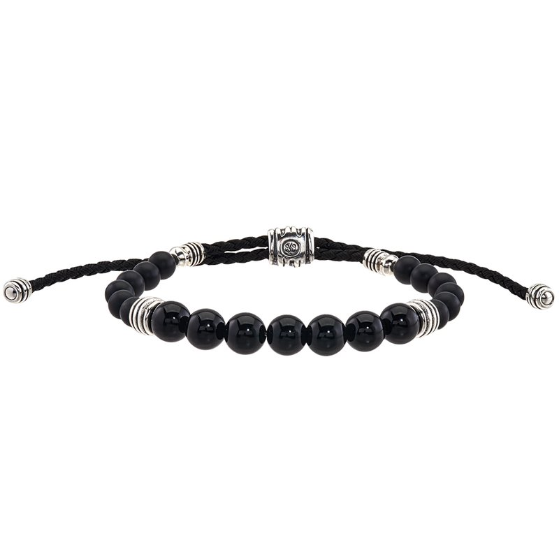 Esquire Men's Jewelry Round Onyx and Silver Bolo Bracelet