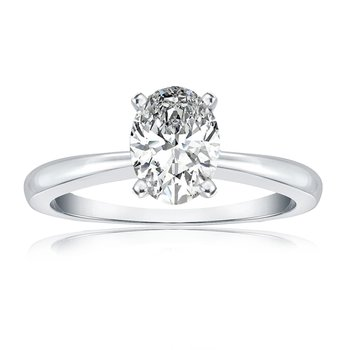Certified White Gold 1ct Oval Diamond Solitaire