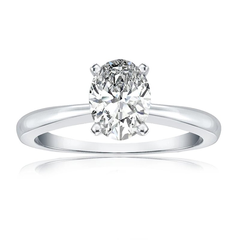 Lab Grown Diamonds Certified White Gold 1ct Oval Diamond Solitaire