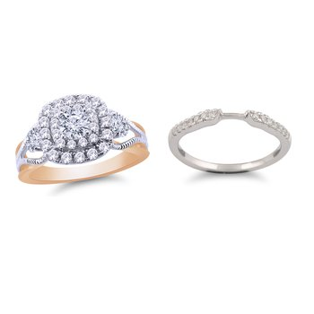 Certified 1.07 ctw Two Tone Royal Colorless Set