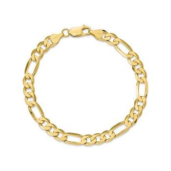 "10k 9"" 9.9mm Hollow Figaro Bracelet"