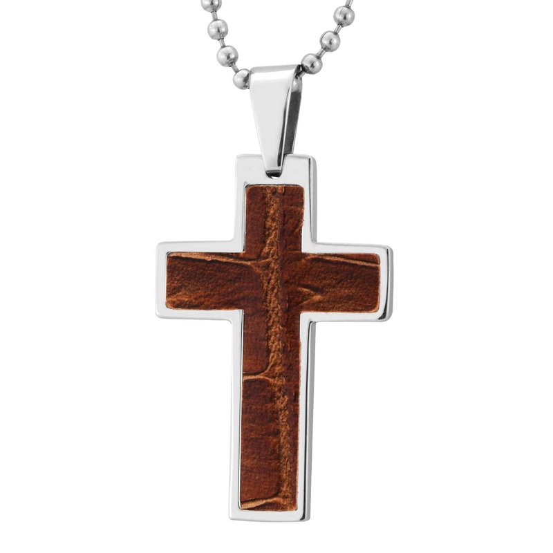Saslow's & Henebry's Collection Steel-Leather Cross Necklace