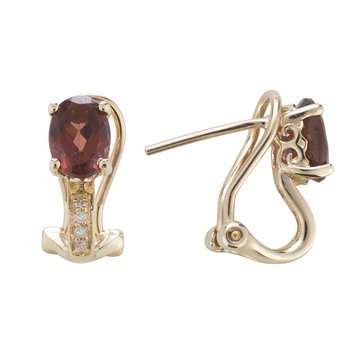 14ky Garnet / Diamond Earrings