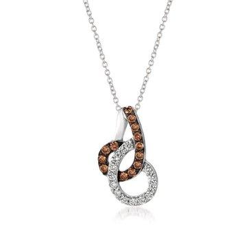 14K Vanilla Gold® Pendant with Chocolate Diamonds® 1/3 cts., Vanilla Diamonds® 1/4 cts.