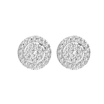 .25ctw Round Cluster Halo Earrings