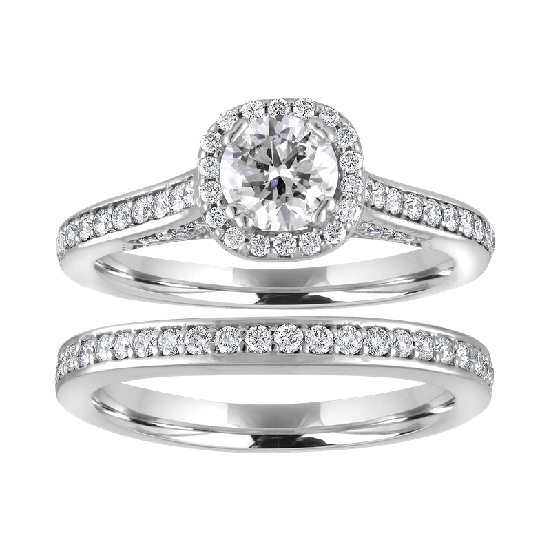 Lab Grown Diamonds Certified 1.25ctw Round Halo Bridal Set
