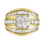 Promise Forever Certified 3ctw Princess Cut Quad Center Diamond Ring