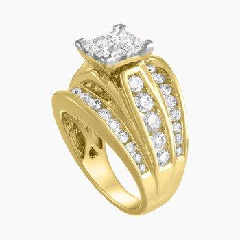 Certified 3ctw Princess Cut Quad Center Diamond Ring