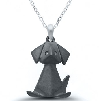 Origami Black Dog SS Necklace