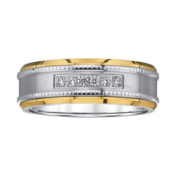 8mm .12ctw Two Tone Tungsten/Steel Band