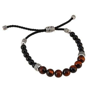 Round Tiger Eye, Onyx, and Silver Bolo Bracelet