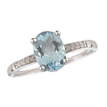 14kw Aqua / Diamond Rings