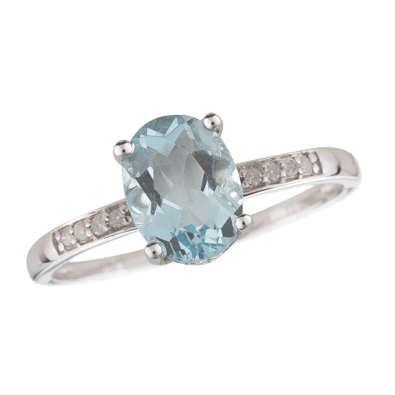 Birthstone Collection 14kw Aqua / Diamond Rings