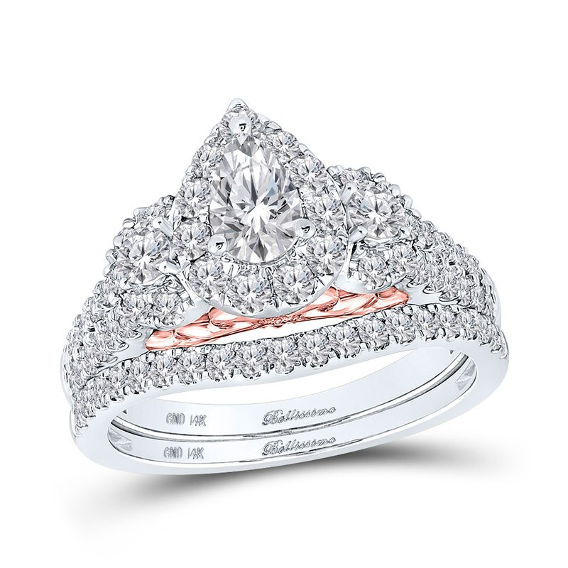 Bellissimo Certified 1.50ctw Pear Halo 3 Stone Engagement Ring