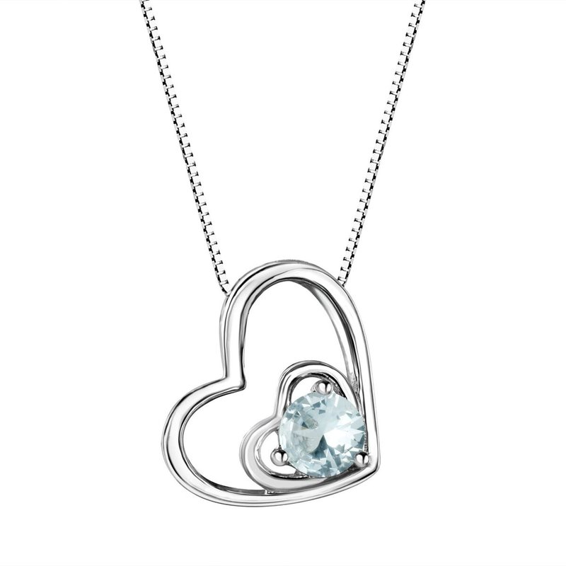 Birthstone Collection Aqua Double Heart Sterling Silver Pendant