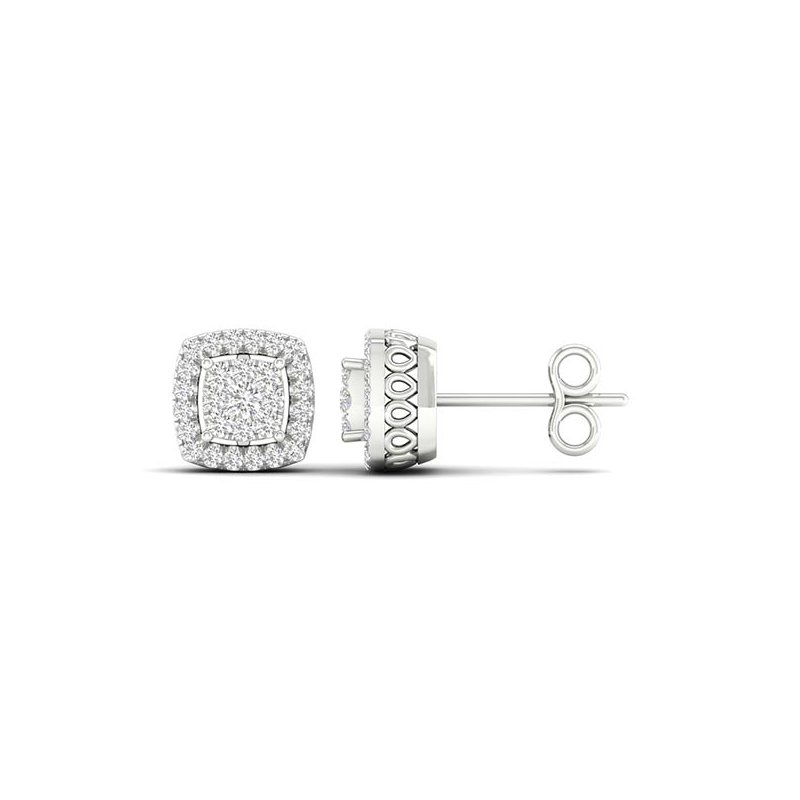 Saslow's & Henebry's Collection .25ctw Cushion Cluster Halo Earrings