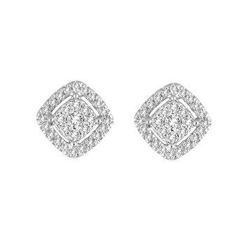.25ctw Cushion Cluster Halo Earrings
