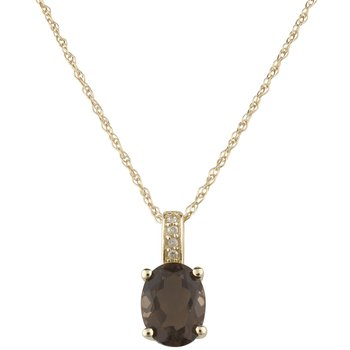 14ky Smoky Quartz / Diamond Yellow Gold Pendant