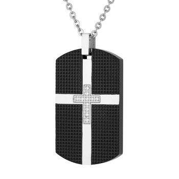 "24"" Steel Cross Dog Tag Necklace"
