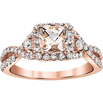 14K Rose Gold Morganite Engagement ring matching band available