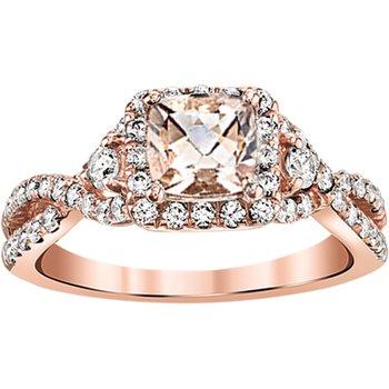 14K Rose Gold Morganite Engagement ring matching band available