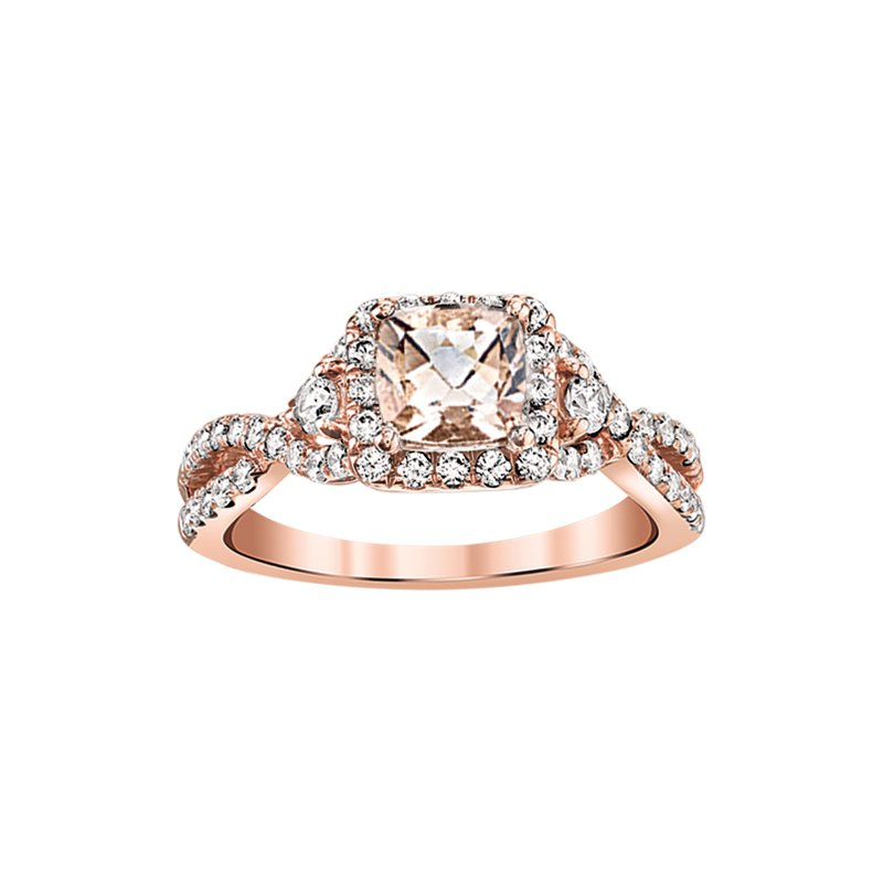 Promise Forever 14K Rose Gold Morganite Engagement ring matching band available
