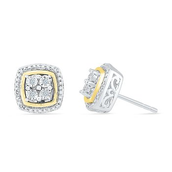 Square Cluster Diamond Earrings
