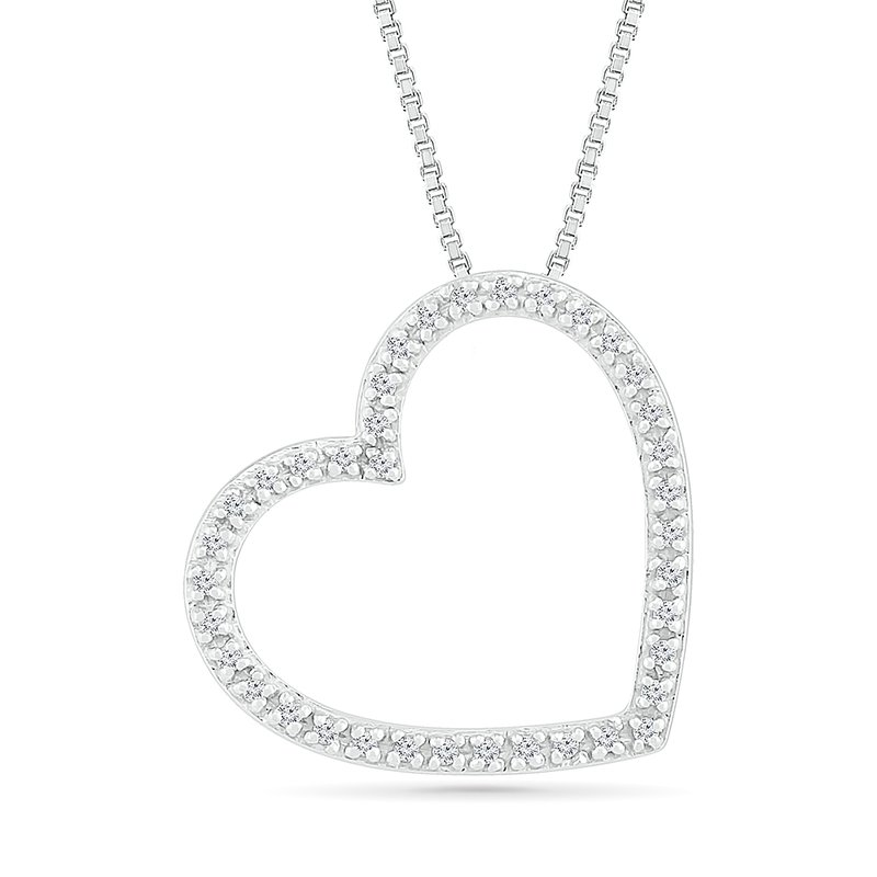 Gifts That Rock .06ctw Open Heart Necklace