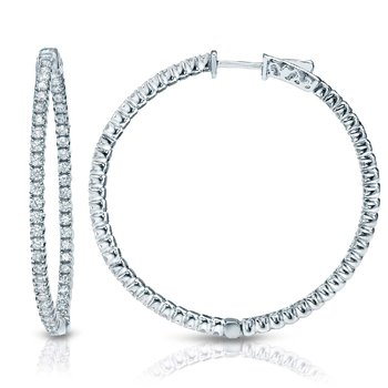 14kw 2ctw Diamond In/Out Hoop Earrings