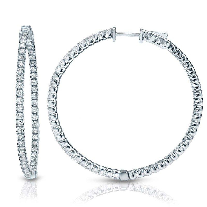 Lab Grown Diamonds 14kw 2ctw Lab Grown Diamond In/Out Hoop Earrings