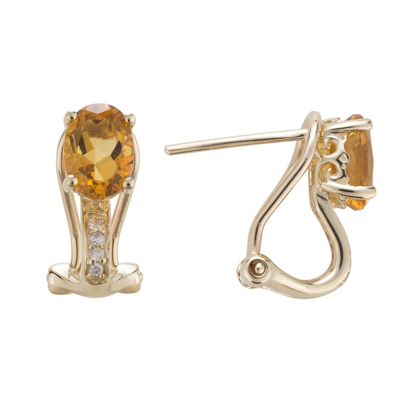 Birthstone Collection 14ky Citrine/Diamond Yellow Gold Earrings