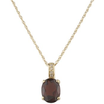 14ky Garnet / Diamond Pendant