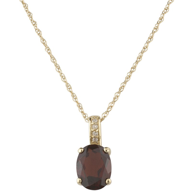 Birthstone Collection 14ky Garnet / Diamond Pendant