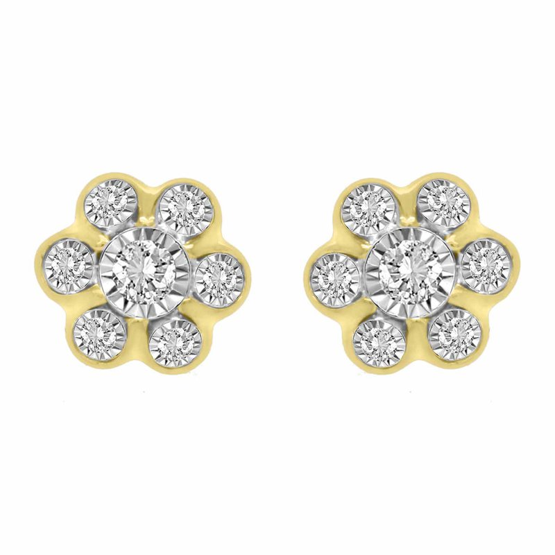 Saslow's & Henebry's Collection .25ct Flower Cluster Earrings
