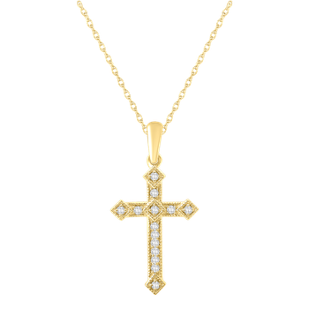 Yellow Gold 1/10ctw Diamond Cross Pendant