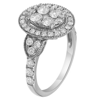 1.20 ctw Lab Grown Oval Cluster Fashion Ring