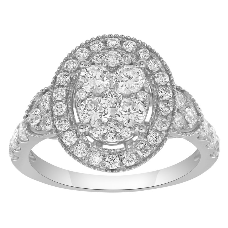 Lab Grown Diamonds 1.20 ctw Diamond Oval Cluster Fashion Ring