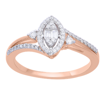 1/4ctw Marquise Halo Rose Gold Promise Ring