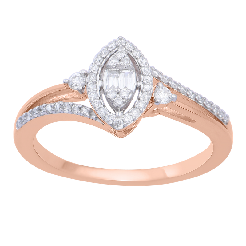Saslow's & Henebry's Collection 1/4ctw Marquise Halo Rose Gold Promise Ring
