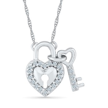 Diamond Lock/Key Necklace