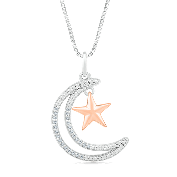 Two Tone Star Diamond Necklace
