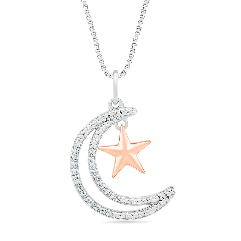 Gifts That Rock Two Tone Star Diamond Necklace