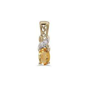 10K Yellow Gold Oval Citrine And Diamond Pendant