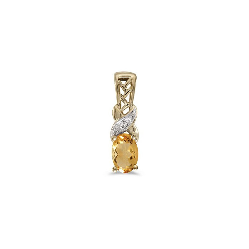 Birthstone Collection 10K Yellow Gold Oval Citrine And Diamond Pendant